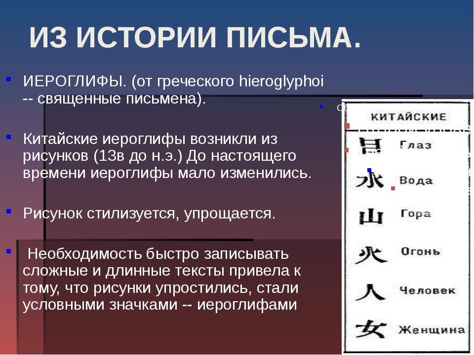 ИЗ ИСТОРИИ ПИСЬМА. ИЕРОГЛИФЫ. (от греческого hieroglyphoi -- священные письме...