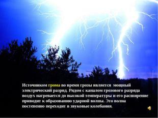 Источником грома во время грозы является мощный электрический разряд. Рядом с
