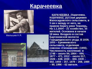 Карачеевка КАРАЧЕЕВКА (Карачевка, Корачевка), русская деревня Малосадовского