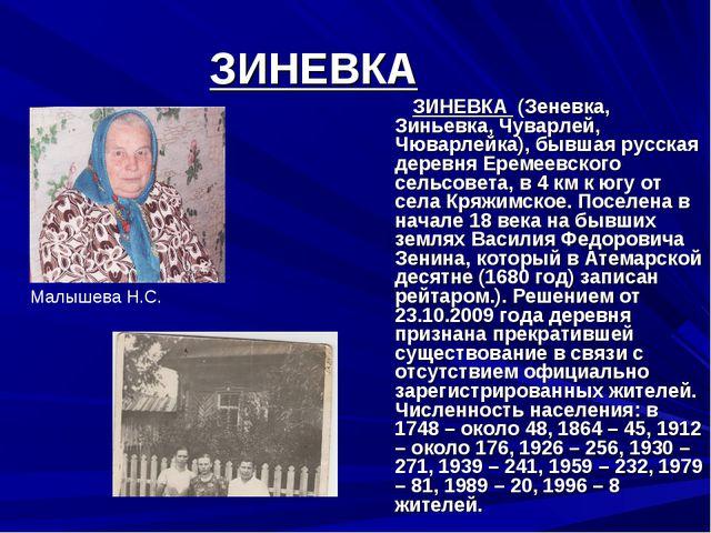 ЗИНЕВКА ЗИНЕВКА (Зеневка, Зиньевка, Чуварлей, Чюварлейка), бывшая русская дер...