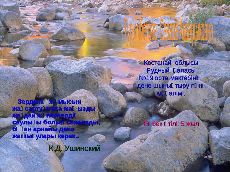К.Д. Ушинский Костанай облысы Рудный қаласы №19 орта мектебінің дене шынықты...
