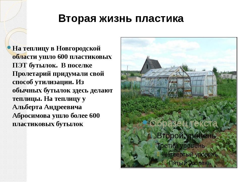 Вторая жизнь пластика На теплицу в Новгородской области ушло 600 пластиковых...