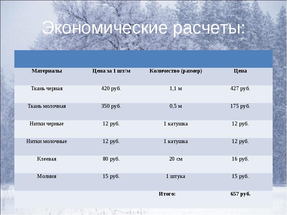 Экономические расчеты:  МатериалыЦена за 1 шт/мКоличество (размер)Цена...