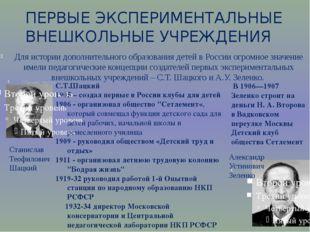 Для истории дополнительного образования детей в России огромное значение име