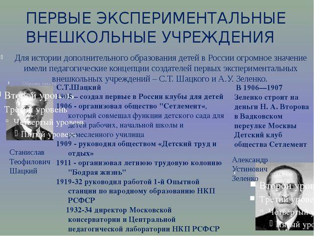 Для истории дополнительного образования детей в России огромное значение име...