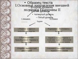 I.Основные направления внешней политики Екатерины II I Западное II Южное Зада