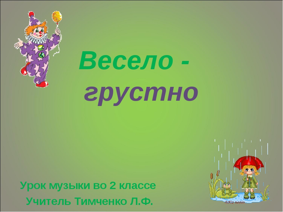 Весело - грустно Урок музыки во 2 классе Учитель Тимченко Л.Ф.