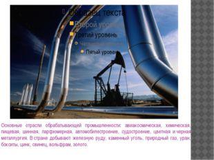 Основные отрасли обрабатывающей промышленности: авиакосмическая, химическая,
