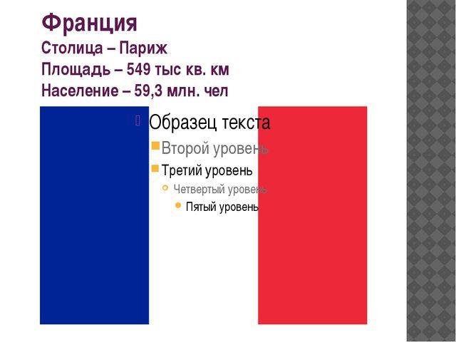 Франция Столица – Париж Площадь – 549 тыс кв. км Население – 59,3 млн. чел