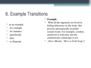 6. Example Transitions as an example for example for instance specifically th