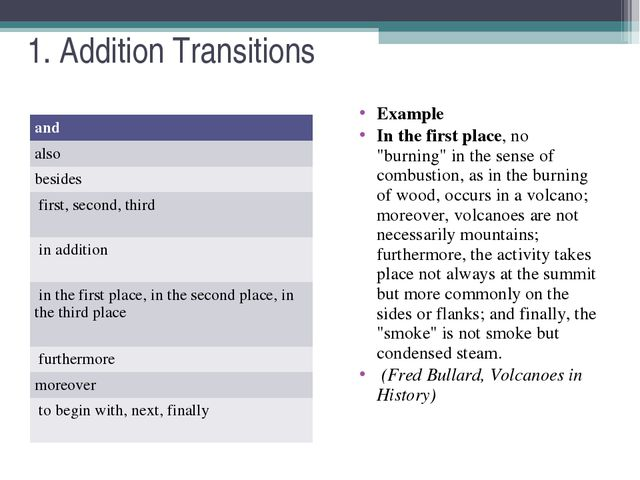 """1. Addition Transitions Example In the first place, no """"burning"""" in the sense..."""