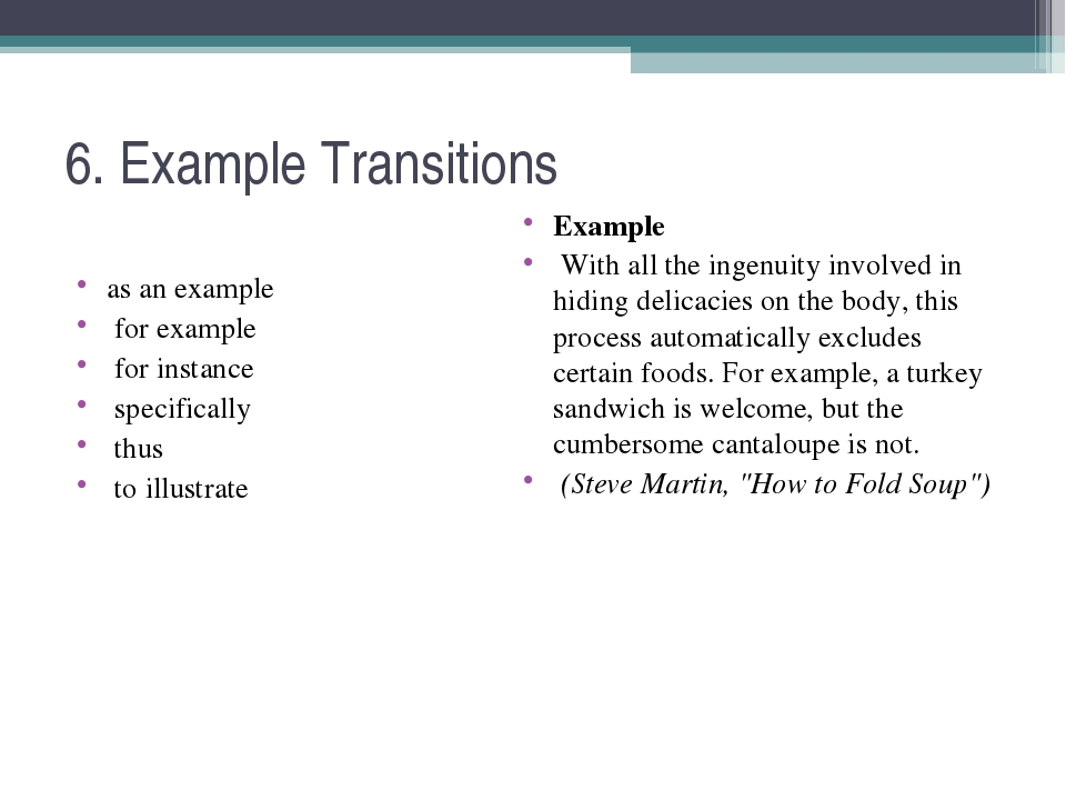 6. Example Transitions as an example for example for instance specifically th...