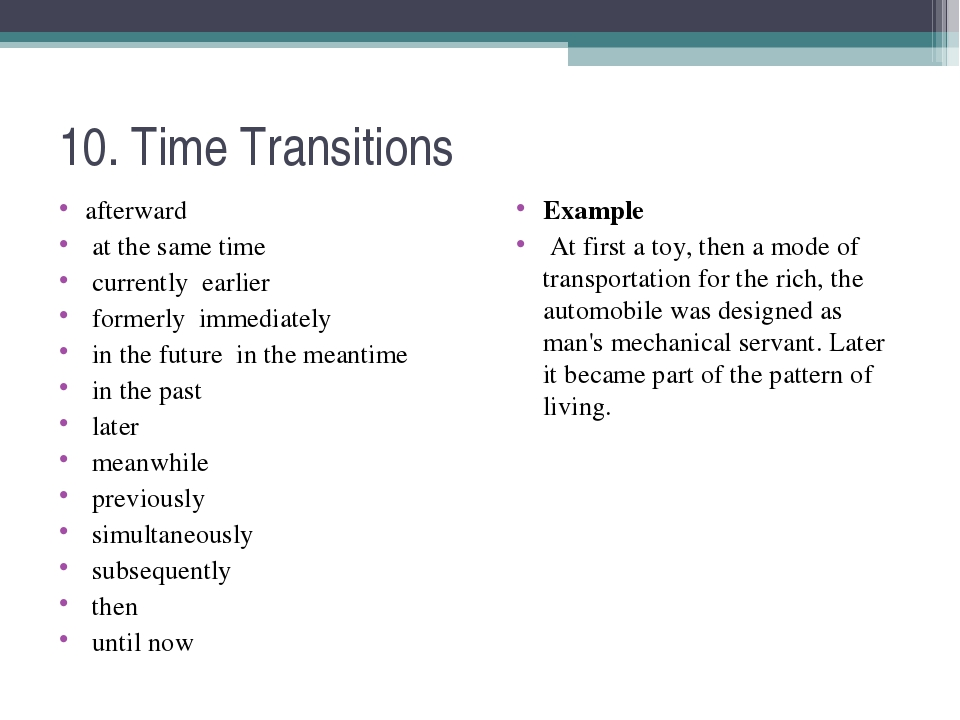 10. Time Transitions afterward at the same time currently earlier formerly im...