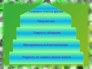 Радость от самого факта жизни Материальное благополучие Радость общения Твор