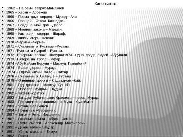 Кинонывтæ: 1962 – На семи ветрах-Мамакаев 1965 – Хасан – Арбекеш 1966 – Поэма...