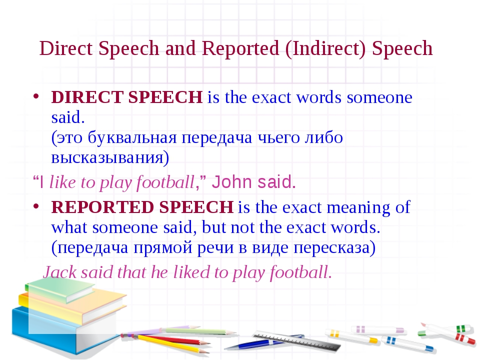 Direct Speech and Reported (Indirect) Speech DIRECT SPEECH is the exact words...