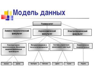 Модель данных Университет Анохин Долов Бехтерев Волкова Дрикс Кузин Лядова