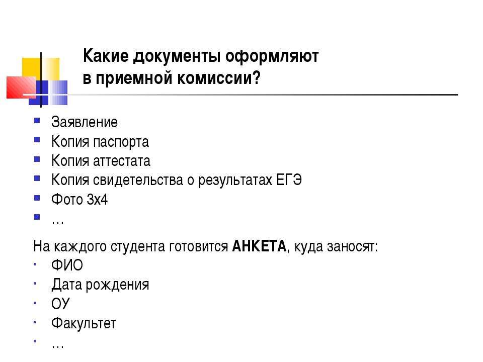 Какие документы оформляют в приемной комиссии? Заявление Копия паспорта Копия...