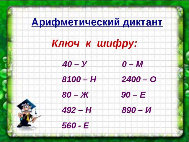 Арифметический диктант Ключ к шифру: 40 – У 0 – М 8100 – Н 2400 – О 80 – Ж 90...