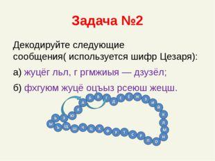 Задача №2 Декодируйте следующие сообщения( используется шифр Цезаря): а) жуцё
