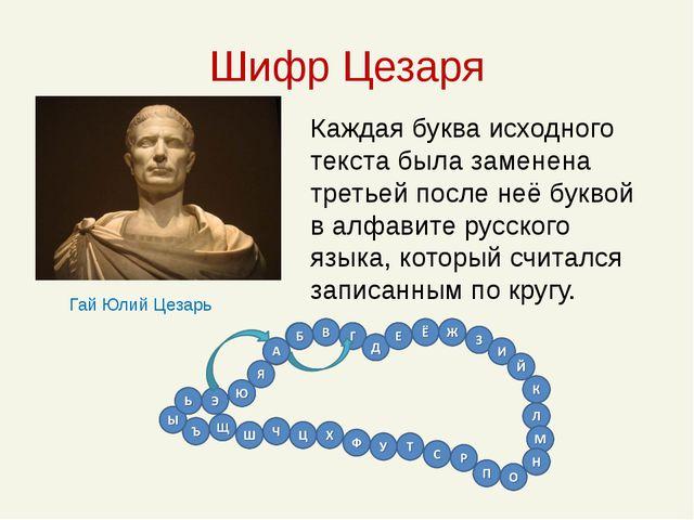 Шифр Цезаря Каждая буква исходного текста была заменена третьей после неё бук...
