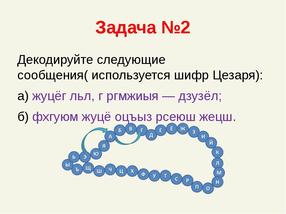 Задача №2 Декодируйте следующие сообщения( используется шифр Цезаря): а) жуцё...