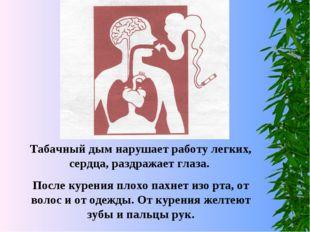 Табачный дым нарушает работу легких, сердца, раздражает глаза. После курения