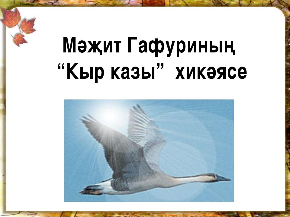 """Мәҗит Гафуриның """"Кыр казы"""" хикәясе"""