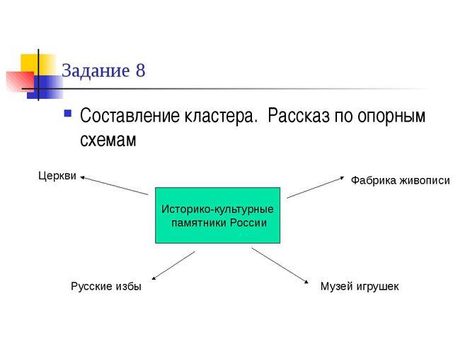 Задание 8 Составление кластера. Рассказ по опорным схемам Историко-культурные...
