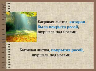 Багряная листва, покрытая росой, шуршала под ногами. Багряная листва, которая