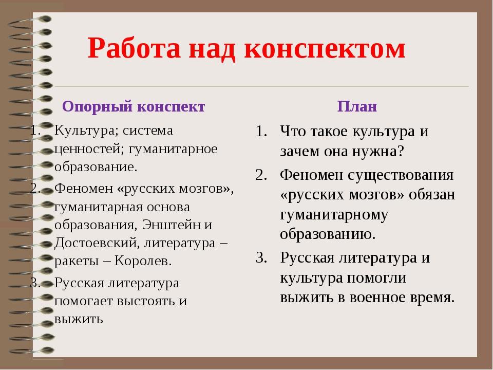 Работа над конспектом Опорный конспект Культура; система ценностей; гуманитар...