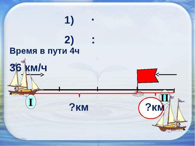 36 км/ч Время в пути 4ч ?км ?км 1) ∙ 2) :