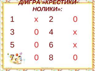 Д/ИГРА »КРЕСТИКИ-НОЛИКИ»: * http://aida.ucoz.ru * 1 х2 0 3 04 х 5 06 х 7