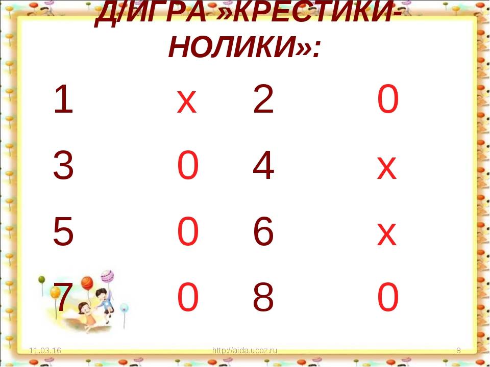 Д/ИГРА »КРЕСТИКИ-НОЛИКИ»: * http://aida.ucoz.ru * 1 х2 0 3 04 х 5 06 х 7...