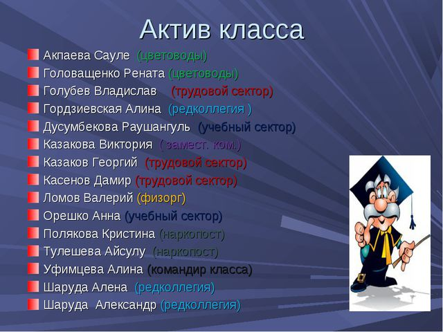 Актив класса Акпаева Сауле (цветоводы) Головащенко Рената (цветоводы) Голубев...