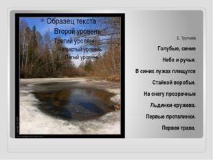 Е. Трутнева Голубые, синие Небо и ручьи. В синих лужах плещутся Стайкой воро
