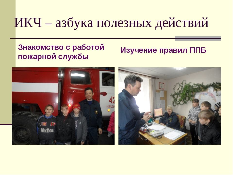 ИКЧ – азбука полезных действий Знакомство с работой пожарной службы Изучение...