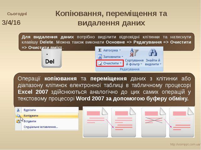 Сьогодні http://vsimppt.com.ua/ Копіювання, переміщення та видалення даних Дл...