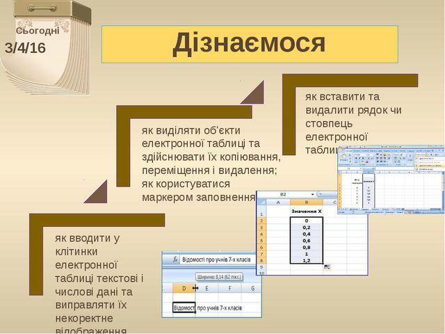 Сьогодні Дізнаємося як вводити у клітинки електронної таблиці текстові і чис...
