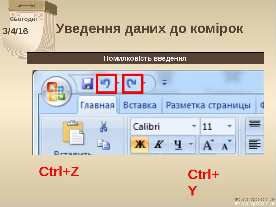 Сьогодні http://vsimppt.com.ua/ http://vsimppt.com.ua/ Уведення даних до комі...