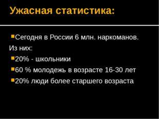 Ужасная статистика: Сегодня в России 6 млн. наркоманов. Из них: 20% - школьни