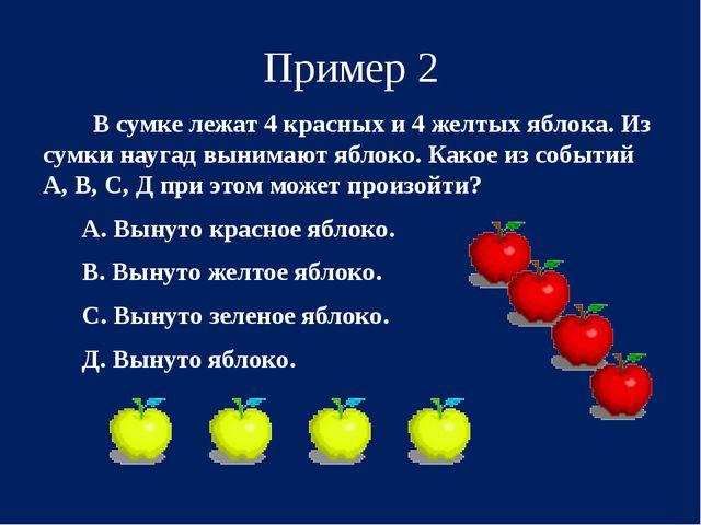 Пример 2 В сумке лежат 4 красных и 4 желтых яблока. Из сумки наугад вынимают...