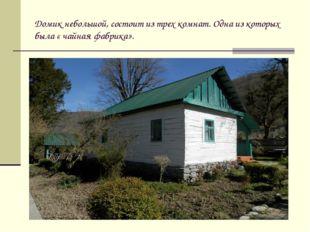 Домик небольшой, состоит из трех комнат. Одна из которых была « чайная фабрик