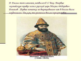 В России этот напиток появился в 17 веке. Впервые «китайскую траву» испил рус