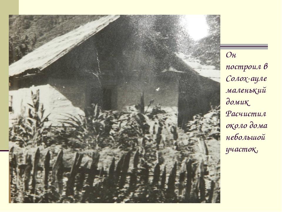 Он построил в Солох-ауле маленький домик Расчистил около дома небольшой участ...