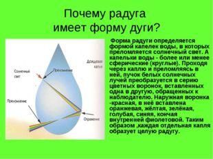 Почему радуга имеет форму дуги? Форма радуги определяется формой капелек воды
