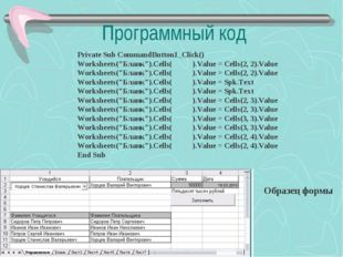 "Программный код Образец формы Private Sub CommandButton1_Click() Worksheets("""