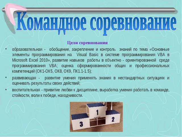 Цели соревнования образовательная - обобщение, закрепление и контроль знаний...