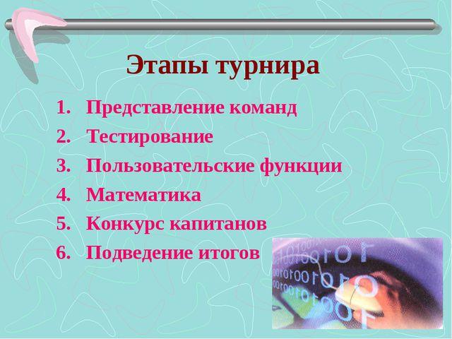 Этапы турнира Представление команд Тестирование Пользовательские функции Мате...