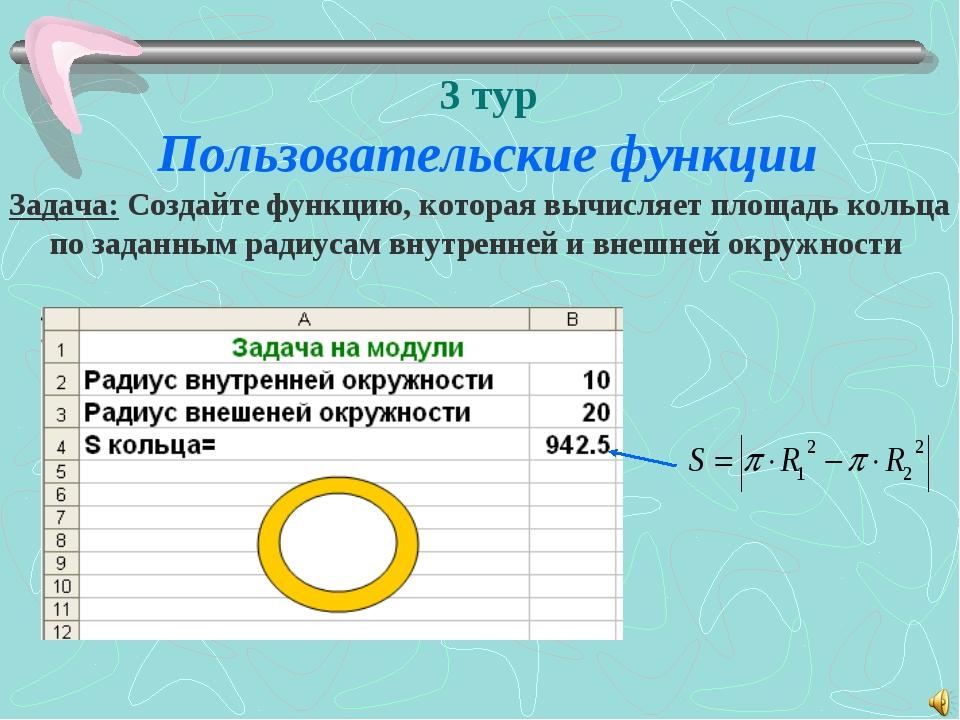 3 тур Пользовательские функции Задача: Создайте функцию, которая вычисляет пл...